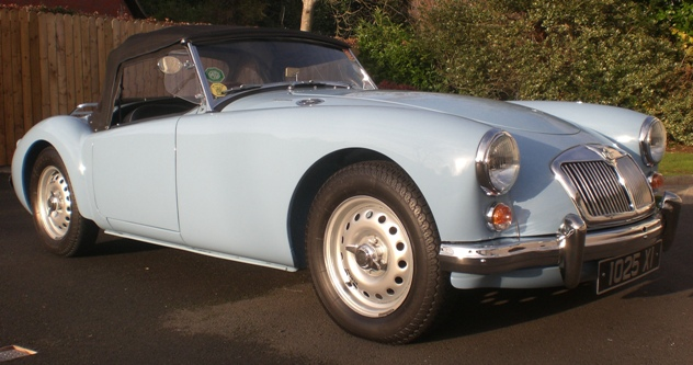 1959 MGA Twin Cam, iris blue test