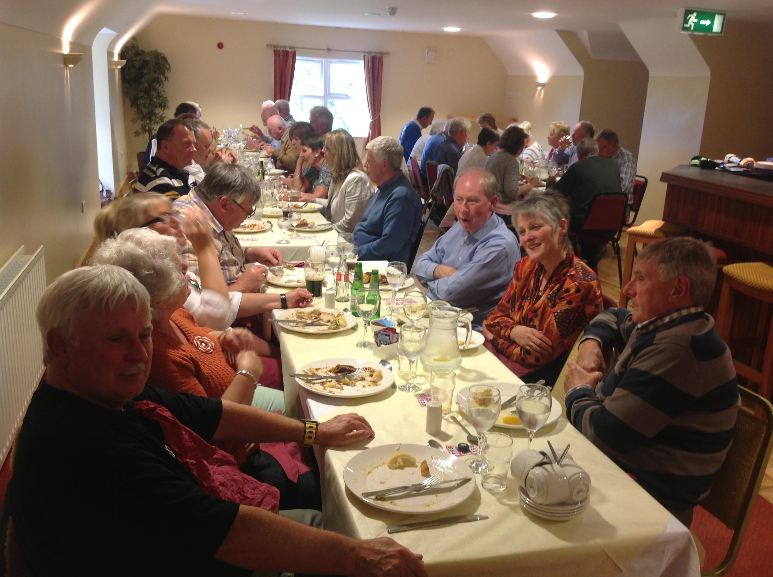 Members enjoying the meal on the Omagh Run 2014 db