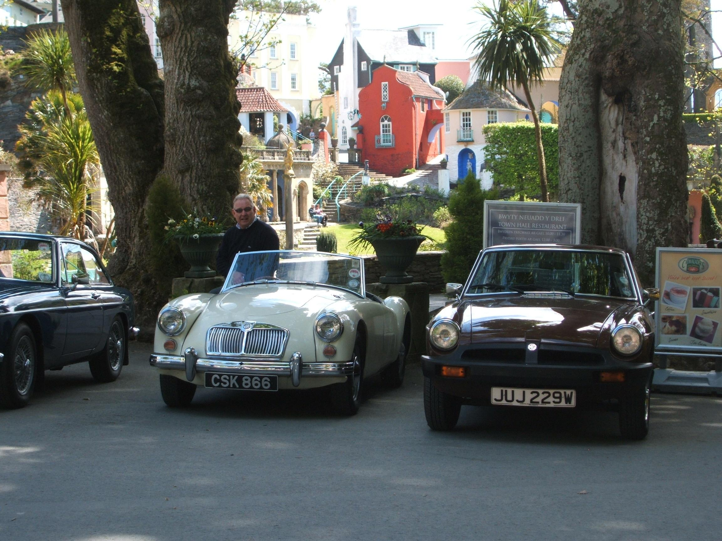 Members cars parked in Port Merrion on the tour during the Wales trip ac 2